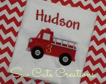 Firetruck Birthday Shirt, Fire Engine Birthday shirt, Fire Truck Birthday shirt, Boy Birthday shirt, Fireman Birthday, sew cute creations