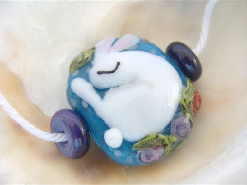 Sleeping Bunny Bead Handmade Lampwork