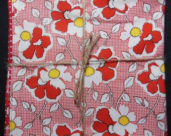 Red Feedsack Floral Reversible Cloth Lunch Napkin Set