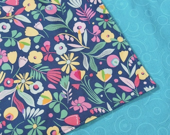 Navy Pink Floral Reversible Cloth Lunch Napkin Set