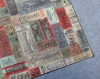 Vintage Train Tickets Reversible Cloth Lunch Napkin Set