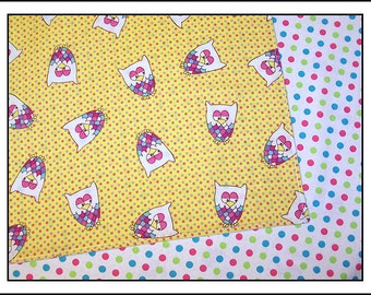 One Two-hoo Three Owl Pair of Reversible Cloth Lunch Napkins