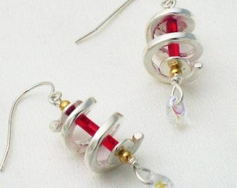 Twist earrings - red