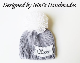 d766f28787381 Chunky Personalized and CUSTOMIZED Grey Pom Pom Hat with Kursiv Name of  your choice