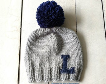 32ab6126992 CHUNKY Knit Grey with Navy Personalized Letter and Pom Pom Hat with Initial  of your choice