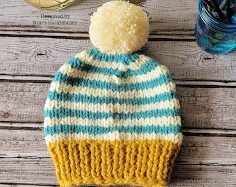 Unisex Kids to Adult Size Knit Fall-Winter Mustard Creme Smoky Turquoise Striped  Pom Pom Hat, Pom Pom Hats, Back to School Fall hats