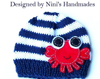 Knit Boys Nautical Crab Beanie, nautical crab apparel, boys clothing, Boys crab clothing, nautical crab baby shower, wholesale boys clothing