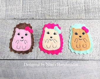 Cute Hedgehog inspired 3 Piece Iron On Felt Applique Patches, Iron on Applique for Kids Apparel Acessories T-shirt Bags and More, woodland