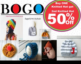 ac3713c412e69e BOGO Listing Buy One Knitted Hat Get 2nd Hat for 50% Off!!! FREE SHIPPING!!!  Sale!! Handmade Sale