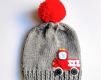 Chunky Knit FIRE TRUCK Pom Pom Hat 3662d1945516