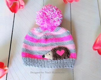 336b6a481e8 Gray Hot Pink and Light Pink Striped Hedgehog inspired Knit Pom Pom Hat