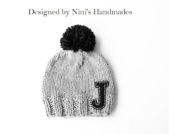 CHUNKY Knit Personalized Beanie with Initial of your choice 9cb7c600936d