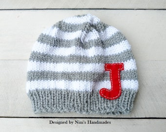 b568852f90e Personalized Striped Knit Beanie Hat with Initials