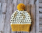CHUNKY Knit Mustard Creme and Black Fair Isle Pom Pom Hat, Unisex Fair Isle Hat Kids to Adult Sizes, Chunky Winter Pom Pom Hats in all sizes