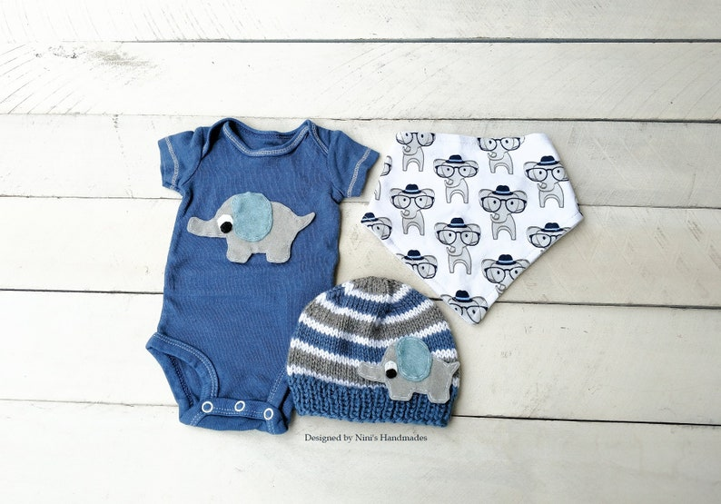 Elephant baby shower nursery gift Hand dyed Bodysuit Final Sale Ready to Ship Elephant inspired Newborn Outfit denim and elephant nursery
