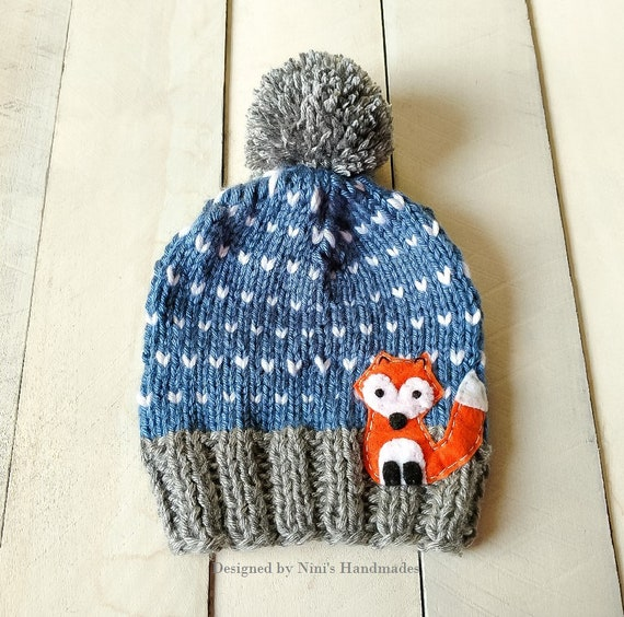 069cfa891d9 CHUNKY KNIT Denim Fair Isle FOX inspired Pom Pom Hat Beanie