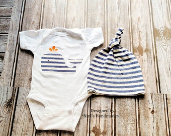 Whale inspired Baby Outfit w. Knotted Hat and Whale Bodysuit, Newborn Photography prop, Nautical nursery, Nautical Whale baby shower gift,