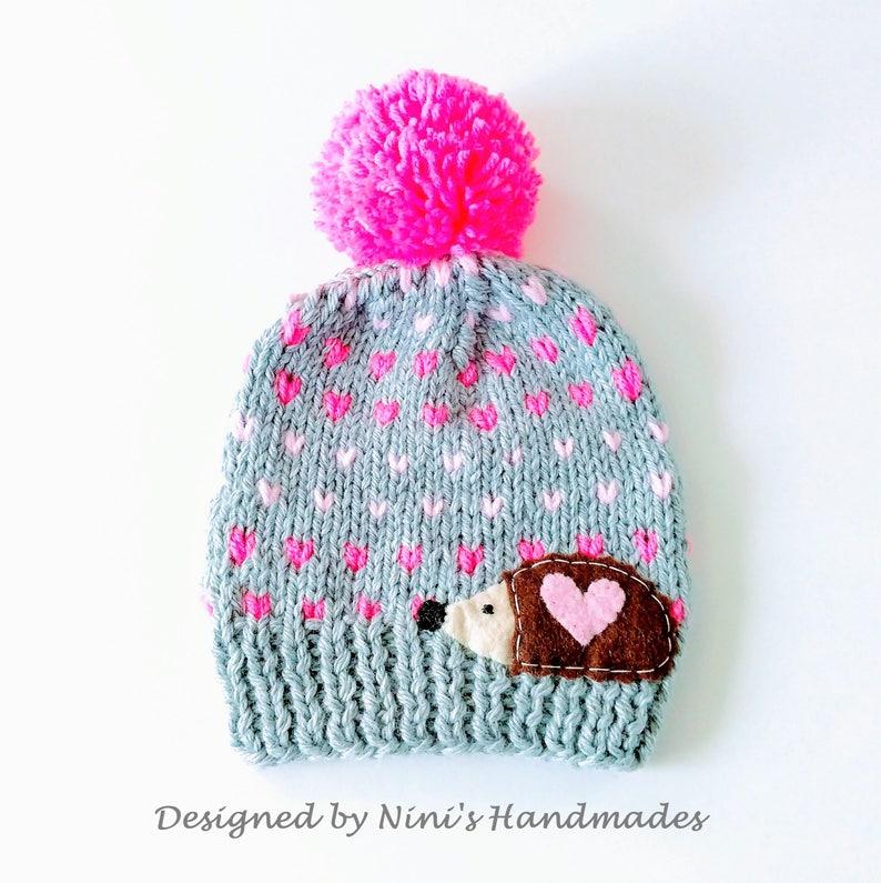 07a57d90b1e CHUNKY Knit Fair Isle inspired Hedgehog Pom Pom Hat girls