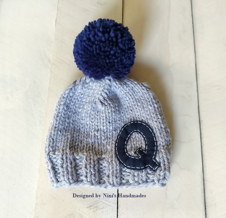 4a7d738f7a0 CHUNKY Knit Grey with Navy Personalized Letter and Pom Pom Hat