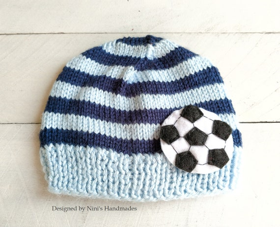 6c4aee851b4a91 Knit Boys hat with Soccer inspired applique Handmade apparel   Etsy