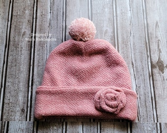 Kids Heather Dark Rose Pink Boucle Knit Double Brim Hat with Dusty Rose Pom Pom, Pink Fall kids apparel, fall winter pink  themed gift