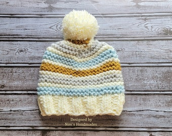 Kids Chunky Purl Striped Pom Pom Hat, Creme Pastels  themed gifts, gifts for kids, Boys Gifts, winter fall kids fashion 2021, Back to school
