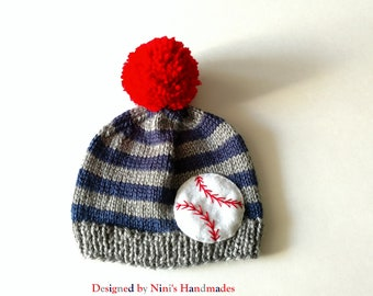 Boys Knit Pom Pom Baseball inspired Hat, striped boys apparel, Beanie hats and caps,  wholesale kids, wholesale boys baseball apparel