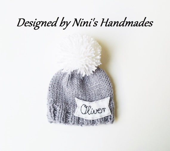 4f83abacfa8 Chunky Personalized and CUSTOMIZED Grey Pom Pom Hat with