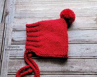 Kids Chunky Dark Cherry Red Purl Knit Pom Pom PIXIE Hat, Cherry winter themed gifts, kids gift, winter fall kids fashion 2021