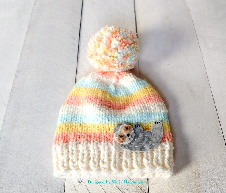 410fcb75e66 Chunky Knit Cute Sloth PASTEL Striped Pom Pom Hat in All