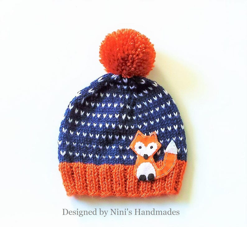 26ae2d4b06c FOX inspired Fall Fair Isle Style knit Pom Pom Hat Beanie