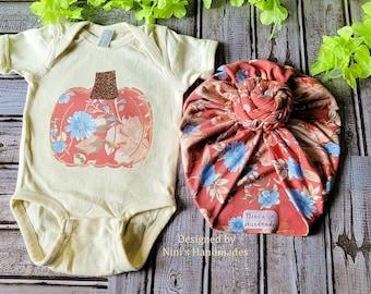 Persimmon Pumpkin Baby Outfit w. Turban and Pumpkin Bodysuit, Newborn Photography prop, Fall nursery, Fall Pumpkin Whale baby shower gift,
