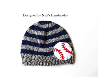 Knit Boys Baseball inspired Beanie, striped boys apparel, Beanie hats and caps,  wholesale kids, wholesale boys baseball apparel,  handmade