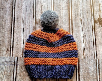 Kids Navy and Burnt Orange Purl Striped Pom Pom Hat, boy gift, Fall and Winter gifts for kids, winter fall kids fashion 2021, Back to school
