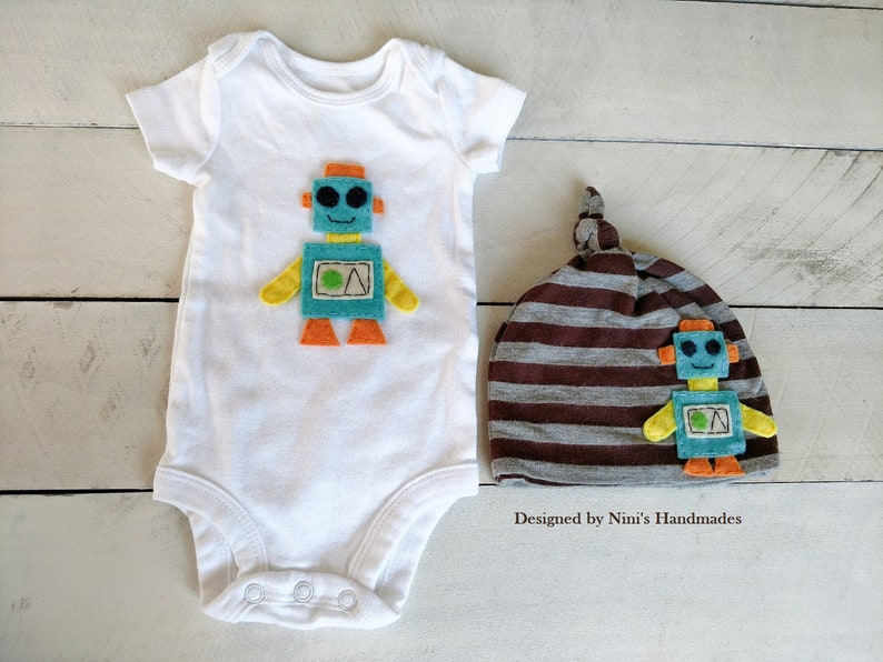 cd69ae60 ROBOT inspired Baby Outfit with Knotted Hat and Bodysuit, Newborn  photography photoprop, baby shower robot gift, baby wholesale apparel