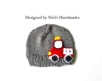 Knit FIRE TRUCK Beanie,  Boys apparel, Boys hats and caps, Boys Beanie Hats, Wholesale kids,  boys clothing, firetruck apparel, trucks