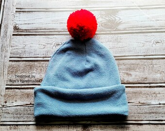 Kids Blue Hacci Sweater Knit Double Brim Hat with Red Pom, Yellow kids apparel, fall winter yellow themed gift, kids fashion