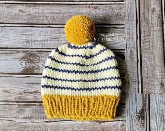 CHUNKY Knit Fall-Winter Mustard, Creme, Navy Pom Pom Hat, Fall Knit Kids to Adult Sizes Hat, Chunky Winter Pom Pom Hats in all sizes