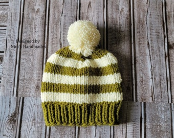 Unisex Kids to Adult Size Knit Fall-Winter OLIVE and CREME Striped  Pom Pom Hat, Pom Pom Hats, Back to School Fall hats