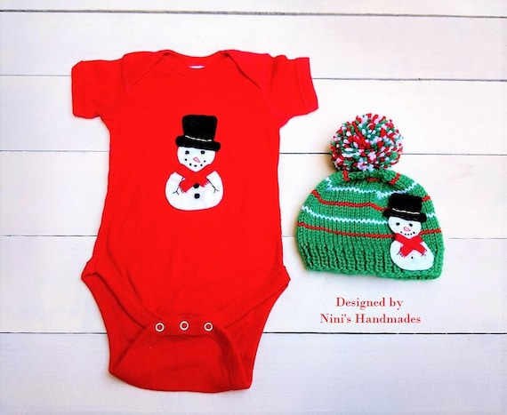 ed1c6259206a1 FINAL SALE 6 Months Winter inspired Snowman Baby Red Bodysuit