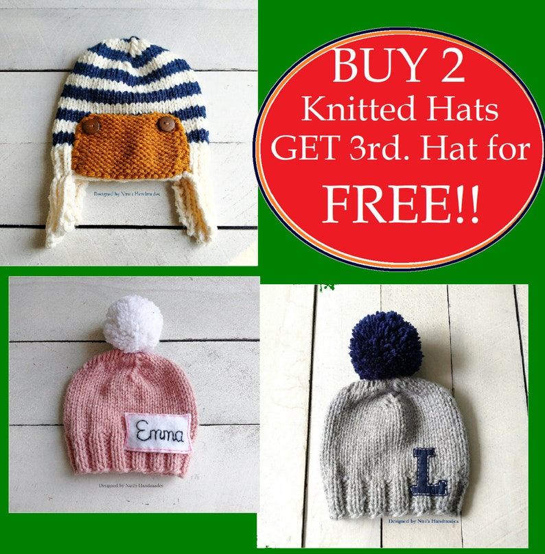 Bogo deals Knitted Hats for all ages Handmade Sale Sale! FREE SHIPPING!! Buy TWO Knitted Hats and Get 3rd Knitted Hat for Free!!