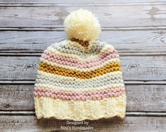 Kids Chunky Purl Striped Pom Pom Hat, Creme Pastels  themed gifts, gifts for kids, Girl Gifts, winter fall kids fashion 2021, Back to school