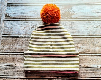 Kids  Olive and White Ribbed Knit Jersey Double Brim Hat with Burnt Orange Pom Pom, Olive kids apparel, fall Olive themed gift, kids fashion