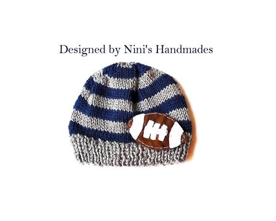 233757c93a4 Knit Grey and Navy FOOTBALL Hat boys football hat boys