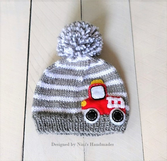 Knit Grey and White FIRE TRUCK Pom Pom Hat Beanie Kids Beanie  19a2e466d4b