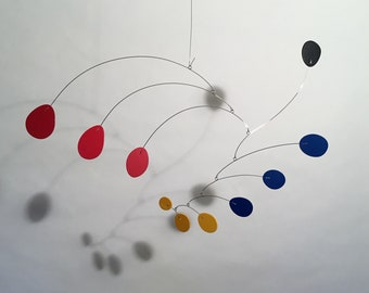 Modern Art Mobile S Steel and Petals Small 20x13 Hanging Sculpture Hanging Home Decor Mid Century Modern Retro Nursery