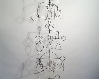 Geometric Mobile 14w x 29h Black Wire Art Hanging Sculpture No.3
