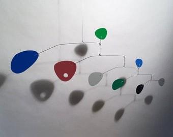 Modern Hanging Mobile Art Sculpture Modernist Small Baby Nursery (first photo) dk blue, green, maroon, bt. blue, grey, lt. grey, dk. green