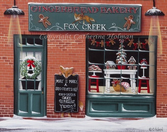 Gingerbread Bakery at Fox Creek Christmas Folk Art Print