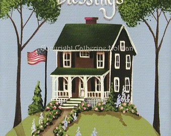Folk Art Print Highland Ridge Patriotic Blessings by Catherine Holman